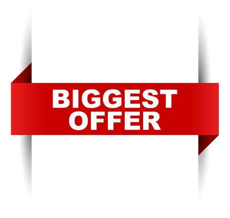 red vector banner biggest offer
