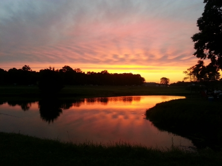 reflective: Glorious Colorful Sunset over Reflective Pond Water