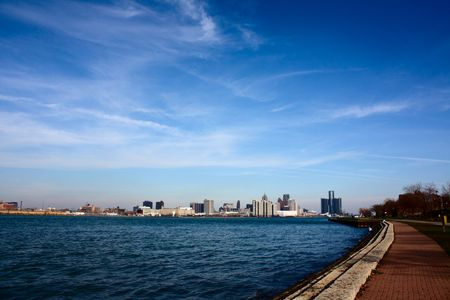 This is the riverside of Detroit river, it is so clear, I can't believe it is a river pass a industrial city! Stock Photo - 6125717