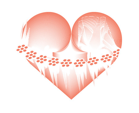 misunderstanding: Red heart decorated with light ice icicles Illustration