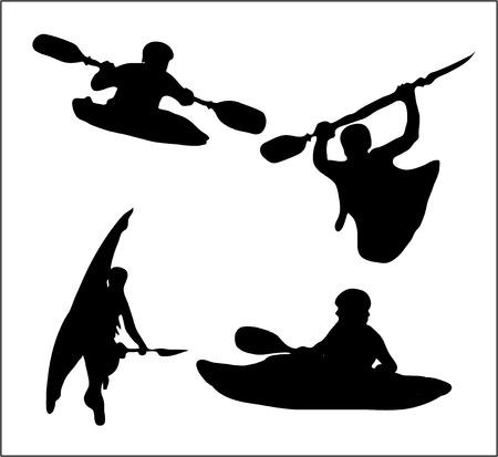 kayak: Silhouet kajakkers Stock Illustratie