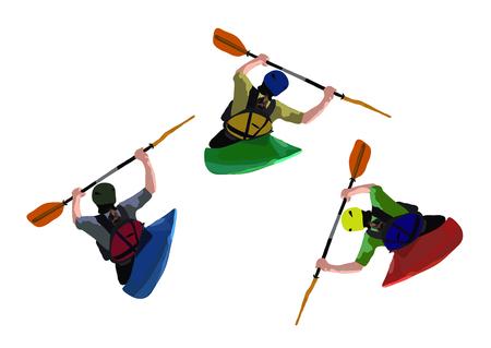 kayaker: Kayaker paddling in blue, green and red kayak
