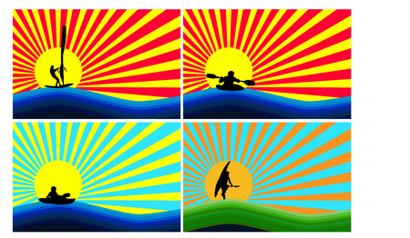 Display water sports on background simulating sunset and sunrise Illustration
