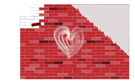 which: Falling red brick wall on Which it is drawn hearts