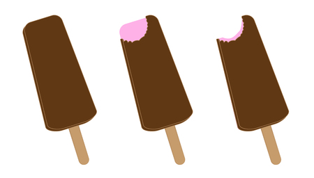 ice lolly: Delicious ice lolly with chocolate and strawberry flavor Illustration