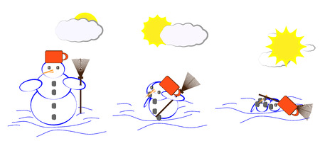 The Gradual thawing snowman During spring thaw Illustration