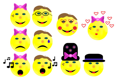 shame: That yellow faces show emotions such as Microsoft joy and sorrow Illustration