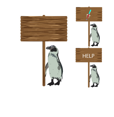 species plate: Penguin holding a sign