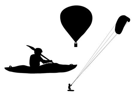 ballooning: Black silhouette extreme sports ballooning, kayaking and kiteboarding