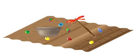 caroling: Carpet spill with Easter eggs and Easter Caroling Illustration