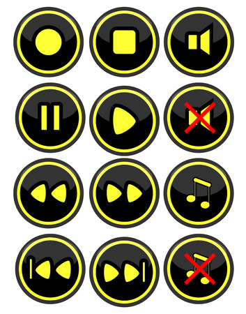 player controls: A set of buttons for radio or video on a black background