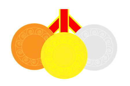 loss leader: Gold, silver and bronze medals in alignment Illustration