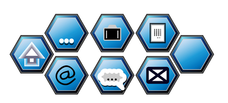 The hexagonal buttons on your website in blue Stock Photo