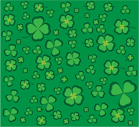 coincidence: Clover background with green shamrocks and four-leaf clovers for luck Illustration