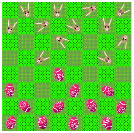 Easter game of checkers on green board Illustration