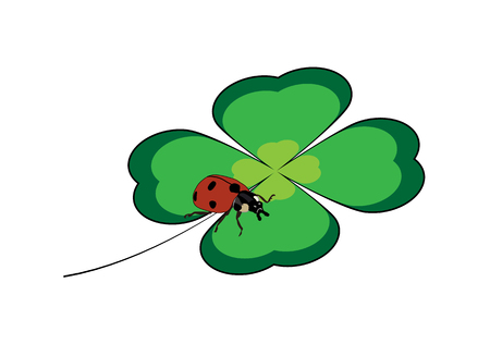 A green four-leaf clover with red ladybug Illustration