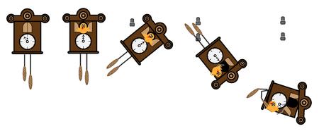 reloj cucu: Reloj de cuco caída de la pared y se rompe