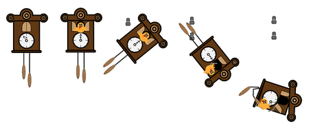 Cuckoo Clock fall of the wall and shatters Illustration