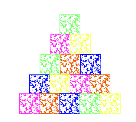 The pyramid was built from children colored cubes