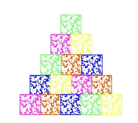 The pyramid was built from children colored cubes Ilustração Vetorial