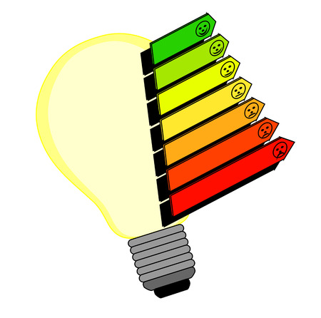 scale icon: Symbol bulbs with energy labels as an isolated clip art