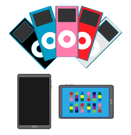 Tablet on and off, and color variations of iPod as a modern electronics Ilustração