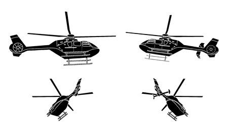 強調表示された機能を持つヘリコプター シルエットのセット