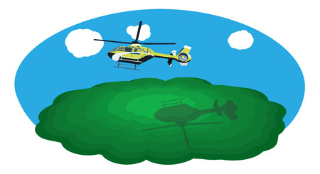 Flying helicopter in the sky with a shadow on a green mountain Illustration