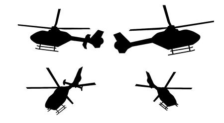 ヘリコプターのシルエット セット側と後部舵と舵がないから