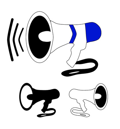 Speakerphone amplifier voice megaphone in color, black and white version Illustration