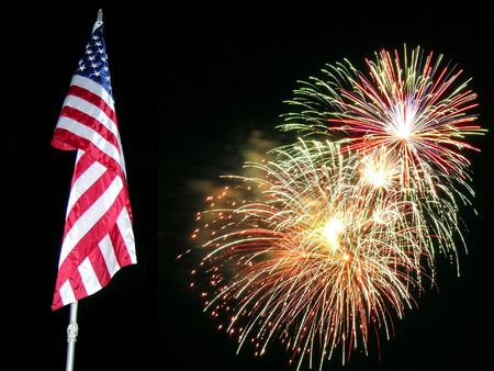 independance:           Flag and Fireworks,