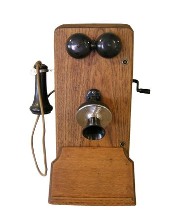 hand crank:           Vintage Phone, Isolated