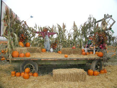 Harvest Wagon with Scarecrow Stock Photo