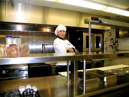상업 산업 주방 선반, 밝고 반짝이 요리사