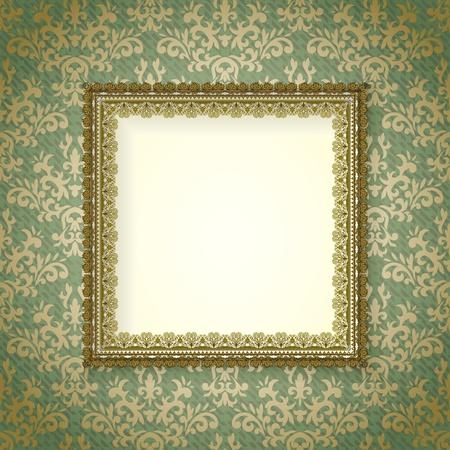 Telaio d'epoca con ombra su sfondo damascato senza soluzione di continuità. di fondo è situato su un livello separato e può essere utilizzato separatamente. Archivio Fotografico - 10671661