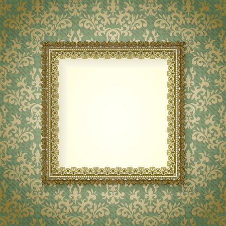 vintage frame with shadow on seamless damask background. background is situated on own layer and can be used separately.
