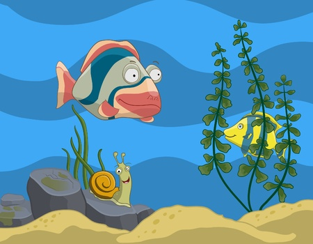 colorful fish tank with tropical fishes, snail and plants. all objects are situated on separate layers. Vector