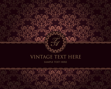 vintage: vintage frame on damask background
