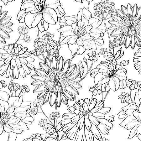 papier peint noir: dessin�s � la main papier peint floral avec jeu de diff�rentes fleurs. pourrait �tre utilis� comme papier peint sans soudure, le textile, le papier d'emballage ou de fond