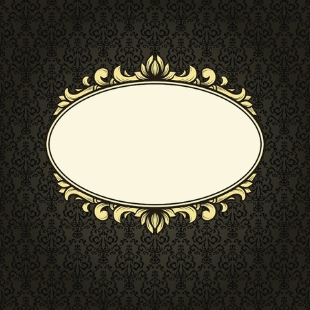Vintage frame on seamless damask background Vector