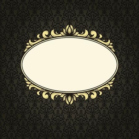 Vintage frame on seamless damask background