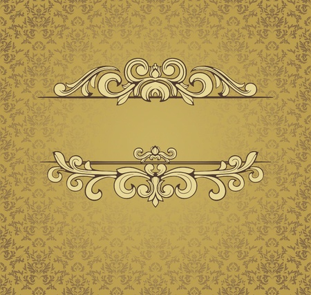 wedding symbol: Vintage frame on seamless damask background