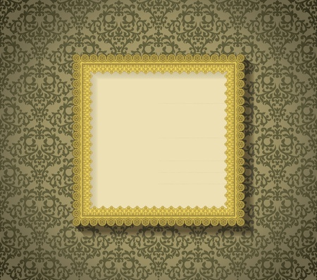 Vintage frame with shadow on seamless damask background. Background is situated on own layer and can be used separately. Vector
