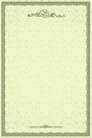 invitation background: Vintage frame on damask seamless background. Could be used for invitation, certificate or diploma Illustration