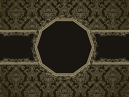 Vintage frame on damask seamless background. Could be used for invitation, certificate or diploma Ilustração