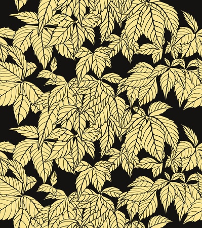 Autumn repeating wallpaper with yellow leafs on dark background Vector