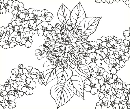 Black and white floral seamless pattern with hand drawn flowers