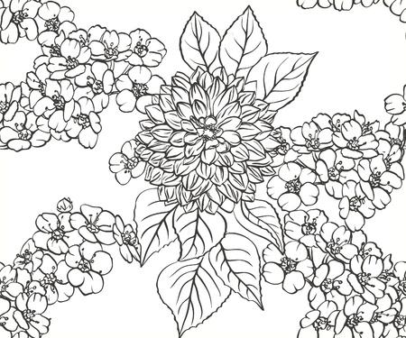 Zwart-witte bloemen naadloze patroon met de hand getekende bloemen