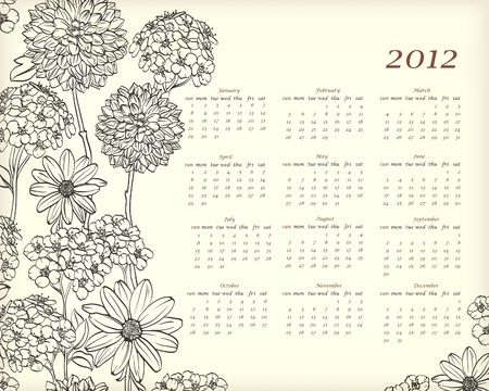 scheduler: Floral calendar for 2012 year with hand drawn flowers