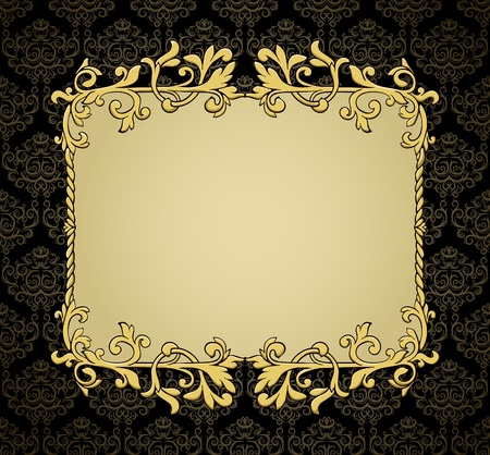 Golden vintage frame on luxury damask pattern. Could be used for certificate or etc Damask pattern is situated on own layer and could be used separately.  Vector